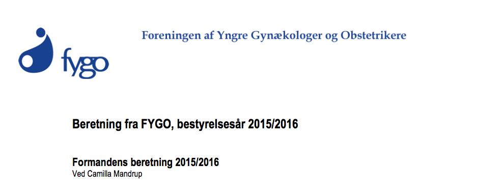 Beretning fra FYGO, bestyrelsesår 2015-2016